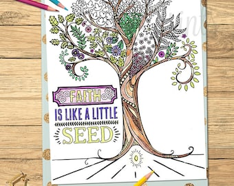 LDS Adult Coloring Pages Faith Is Like A Little Seed LDS printable program cover
