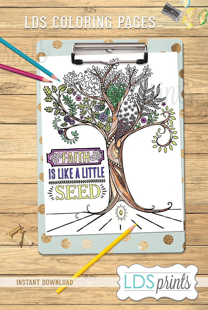 LDSCB023 LDS Adult Coloring Pages Faith Is Like A Little