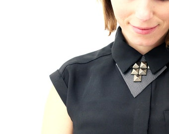 SALE Geometric studded necklace, one of a kind, unique accessory, unisex necklace, statement piece, collar accessory, shirt accessory