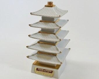 "House of Koshu Seyei Porcelain Plum Wine Liquor 11"" Japan Pagoda Decanter, EMPTY"