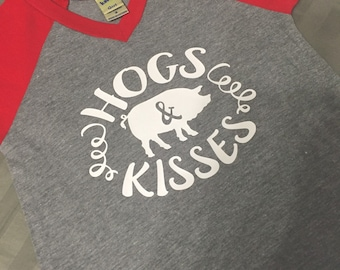 Hogs and Kisses- infant, toddler, youth short sleeve raglan