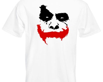 "Mens T-Shirt with Scary Joker Face ""Why So Serious?"" / Movie Batman: The Dark Knight Shirts / Jocker Shirt + Free Decal Gift"