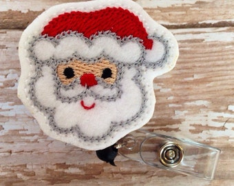 Santa retractable badge reel, Christmas felt badge reel, Holiday retractable badge reel,id badge reel, badge reel, Christmas gift