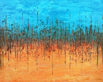 Abstract Art Print Orange Blue wall Art Giclee Print of Original Painting Aqua blue Abstract Orange Modern Decor 4x5, Abstract print 11x14
