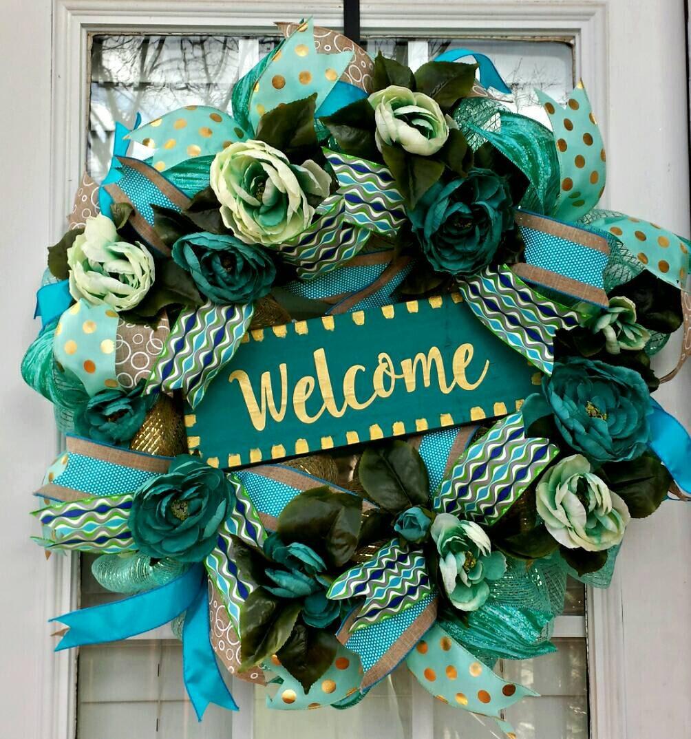 Spring Teal Peony Deco Mesh Wreath Welcome Front Door