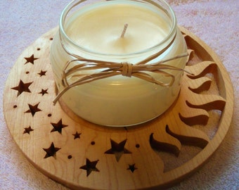 HANDCRAFTED Sun and Stars MAPLE Candle Tray and 100% Soy Candle