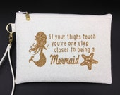 Mermaid Wristlet, Mermaid Clutch, Clutch Purse, Evening Bag, Zippered Bag with Whimsical Mermaid Design - Made in Maui