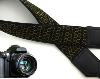 Camera strap honey cells. Bees camera neck strap. Photo Camera accessories. Photographer gift by InTePro