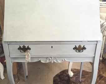 Vintage Hand Painted Oak Secretary Desk