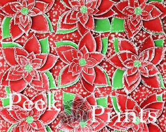 6ftx6ft Perfect Poinsettia - Vinyl Photography Backdrop - Christmas Backdrop - Holiday Backdrop - Item PE036