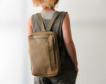 Taupe Leather Bag, Laptop Bag, Leather Backpack, Shoulder Bag, Convertible Bag, Macbook Bag, Computer Bag, Brushed Leather Bag, Handmade Bag