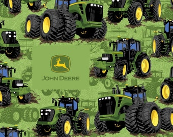 John Deere Tractor Flip on Green Cotton Woven
