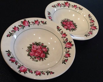 Vintage 2 Santa Anita Ware Soup Bowls <> Made in California <> Garden of Roses Pattern <> 1940's <> EXCELLENT CONDITION