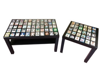 Custom Sports Card Display Coffee Table + End Table With High Gloss Epoxy Finish