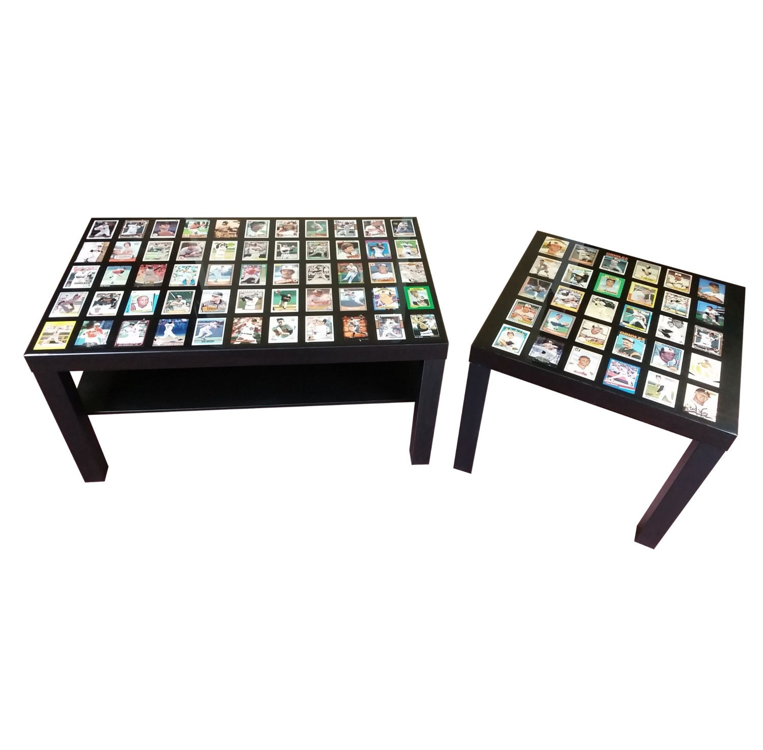 Custom Sports Card Display Coffee Table End Table With High