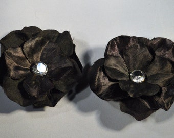 Shoe Clips- Black Silk Flower with Swarovski Crystal