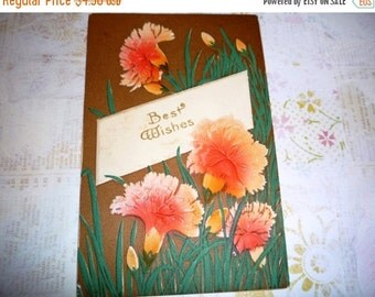 on sale Antique Best Wishes  Embossed With Orange Red Carnations