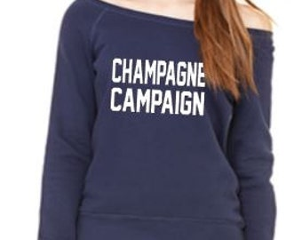 Champagne Campaign Off the Shoulder Sweatshirt