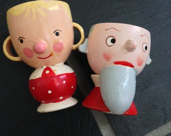 Two Wooden Egg Figural Cups