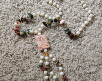 Stone and Bead Necklace with Tassels