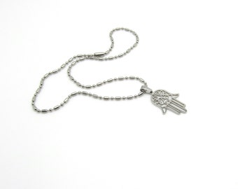 Hamsa pendant-Stainless Steel Cutout Hamsa Pendant with Ball Bead Chain.