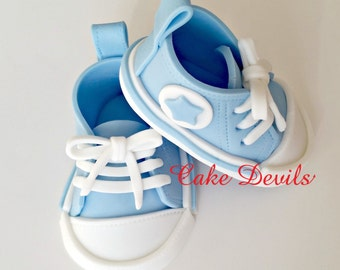 Fondant Baby Sneakers, Baby Shower, Handmade  Cake Topper, Baby Sneakers Cake decorations, Edible Baby Sneakers