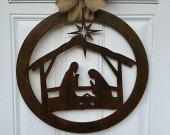 Nativity scene door hanger, nativity door hanger, christmas door hanger, nativity, christmas decor