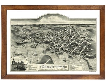 Edgartown, MA Bird's Eye View; 24x36 Print from a Vintage Lithograph