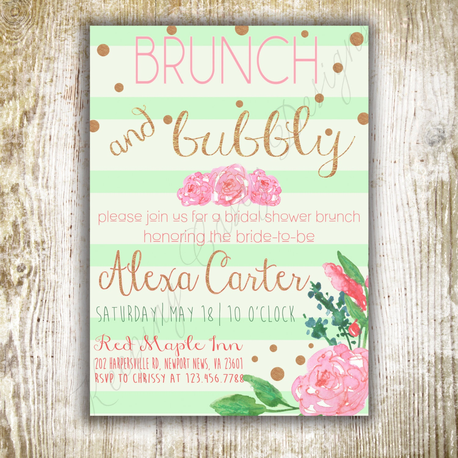 Mint Brunch And Bubbly Invitation Bridal By