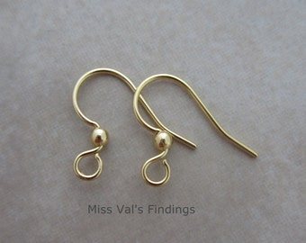 24 gold plated steel ear wires with ball