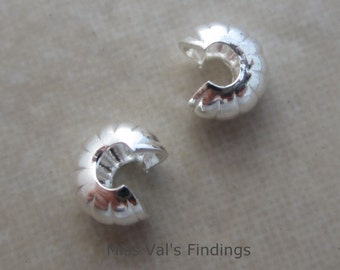 100 4mm silver plated corrugated crimp bead covers