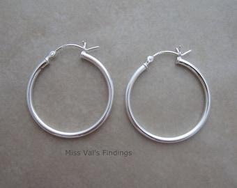 1 pair sterling silver 925 earring hoop 28mm