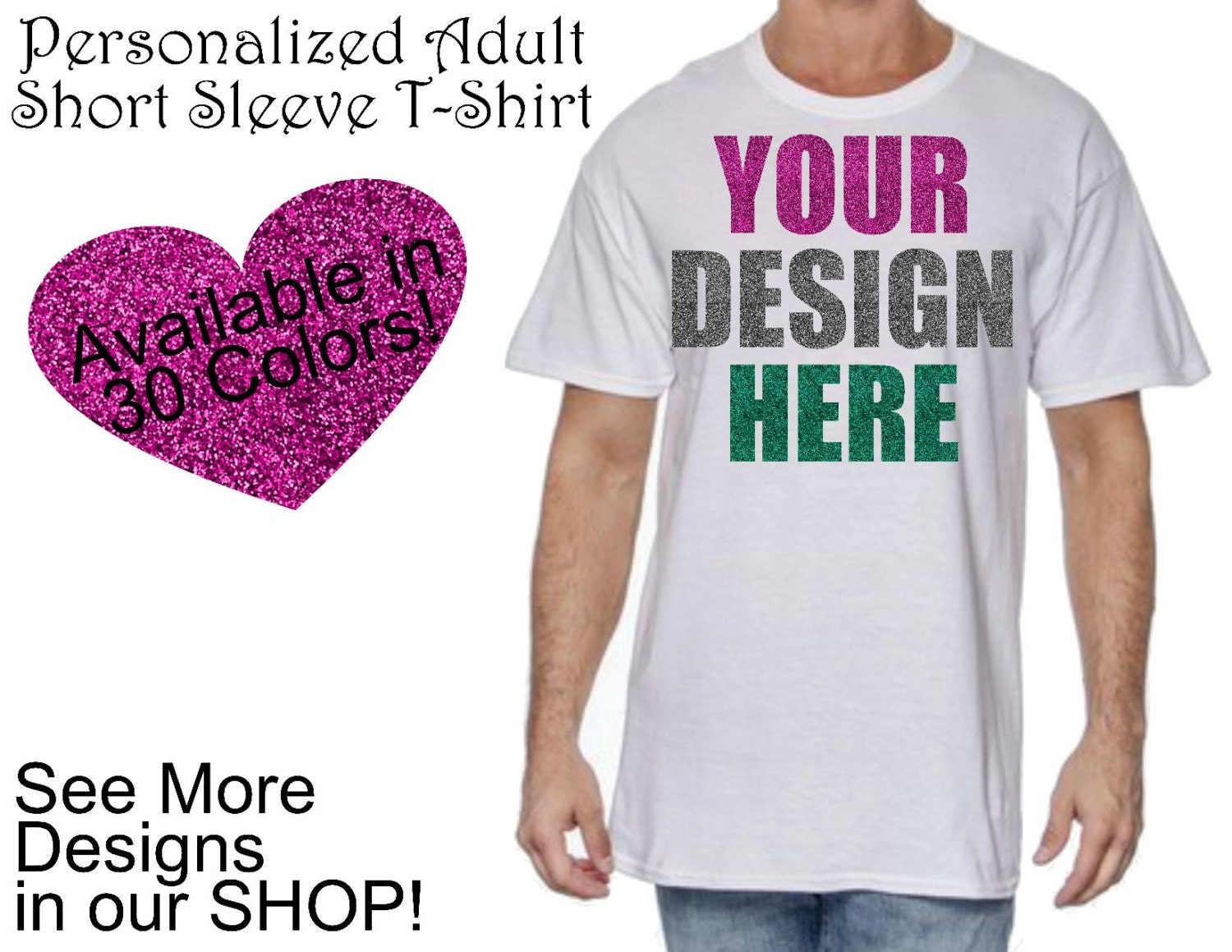 Personalized adult short sleeve t shirt create your own for Custom shirts design your own