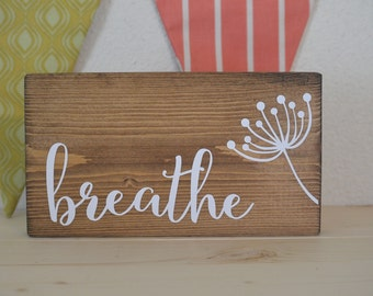 Breathe mini block, mini wood block, desk decoration, shelf decoration, breathe sign, hello block