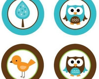 Baby Owls (Teal Blue and Brown) Edible Cupcake Topper Decorations - Set of 12 Toppers