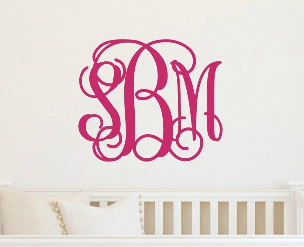 vine monogram decal vinyl wall monogram large wall decal. Black Bedroom Furniture Sets. Home Design Ideas