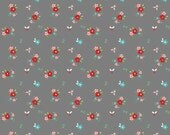 FQ Little Red Riding Hood Little Florals in Grey by Tasha Noel OOP HTF Fat Quarter