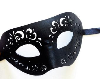 Mens Leather Masquerade Mask, Masquerade Mask, Leather Mask, Black Leather Mask, Mardi Gras Masquerade Mask