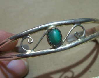 Sterling Silver Malachite Cuff Bracelet - very delicate and great for a gift.