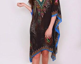 Trendy Silk Beach Dress, Boho black kaftan Coverup, Chic Beach Dress for Her, Unique Black Kaftan, Unique Black Caftan Dress for Poolside