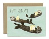 "Sea Otters Birthday Card - ""Happy Birthday!"" - ID: BIR011"