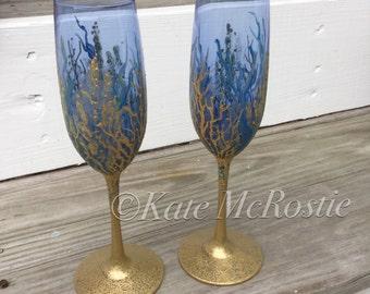 Champagne glasses| coastal wedding glasses| coastal wedding| KateMcRostie|wine glasses | coastal wedding decor| toasting glasses