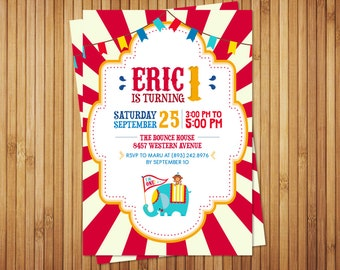 Personalized Fisher Price Circus inspired invitation