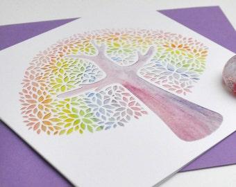 Rainbow Tree (Watercolour) papercut print card