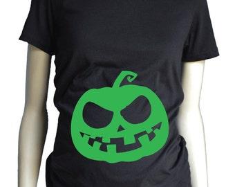 GLOW in the DARK Pumpkin Maternity Shirt, Halloween Maternity T Shirt, Pregnancy Announcement, Halloween Costume