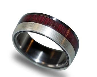 Titanium Ring, Women's Titanium Wedding Band, 925 Silver Ring, Amaranth Wood Ring, Amaranth Wood and Silver Inlay, Mens Band, Mens Ring