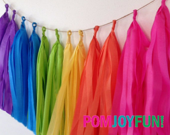 Tissue tassel garland | Double rainbow tissue paper tassel | Wedding | Shower | Reception | Birthday