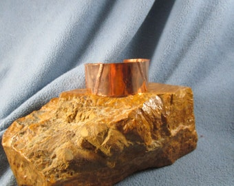 1 Inch Form Folded Copper Cuff Bracelet with Small Diagonal Lines