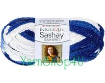 Team Spirit ROYAL/WHITE Red Heart yarn Sashay colors Ruffle yarn ribbon yarn blue and white Yarn fluffy scarf college team scarf yarn