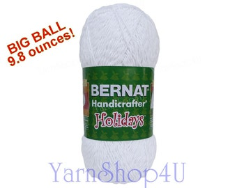 SALE! 9.8oz SPARKLE, Bernat Handicrafter Holidays, white with silver Yarn, Holiday yarn, White with metallic Silver, Bernat Holiday White